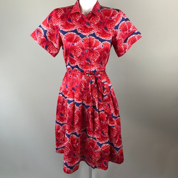 93d255179bd6a0 Brooks Brothers Dresses & Skirts - Zac Posen Brooks Brothers Red Floral  Shirt Dress 6